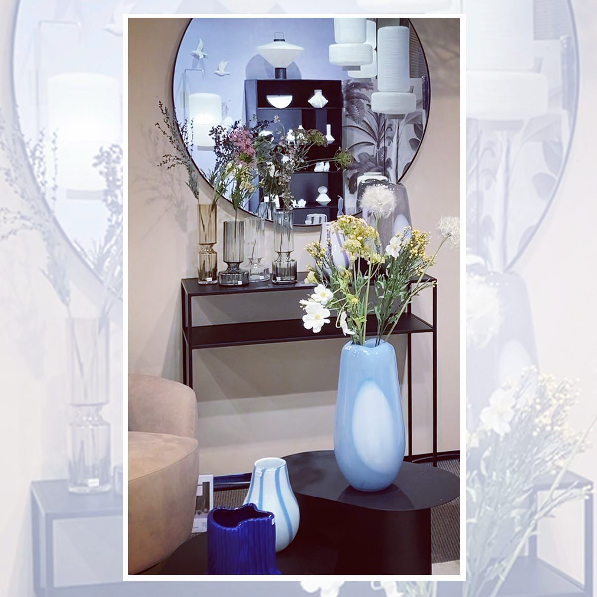 Missing this place!  Our showroom this season has so much COLOUR and had made us feel we were in summer already. This photo is a glimpse of our Broste Copenhagen blue vases, hyacinth vases, our new studio coffee table and console and in the mirror reflection, rice paper lamps and our fine bone China collection. . . #showroom #colour #cantwaittogoback #vases #coffeetables #hyacinthvases #finebonechina #lamps #lighting