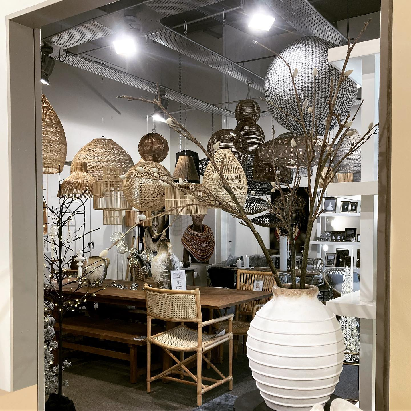 Our lighting/outdoor room - a huge range of handmade rattan lamps. So much texture and a sense of summer… . . #rattanlamps #shades #rattan #handmade #texture